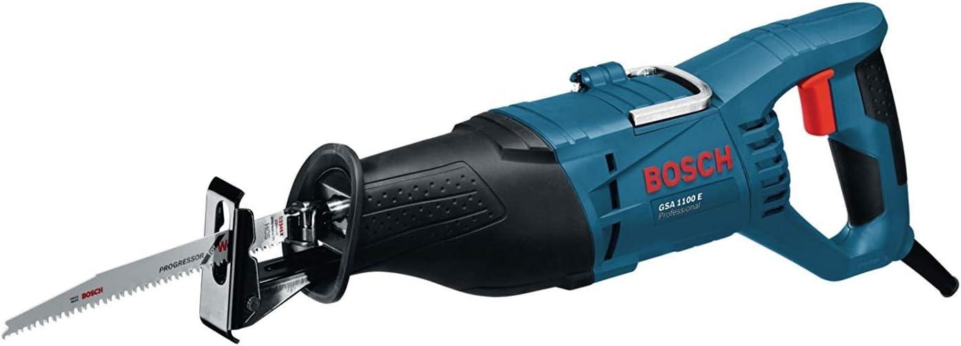 1100 W, 0 ? 2700 cpm, profundidad de corte 230 mm, en malet/ín Bosch Professional GSA 1100 E set de 5 piezas Sierra sable + Hojas de sierra intercambiables