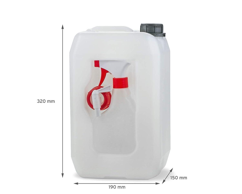 Octopus 5 L Kanister 5 Liter Plastikkanister Set//Kombikanister mit Ablasshahn 5000 ml Wasserkanister mit Auslaufhahn//Zapfhahn und 330 ml Spr/ühflasche BZW Pumpflasche