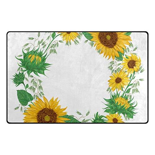 GreaBen Sunflowers Wreath Kids Carpet Playmat Rug 31x20