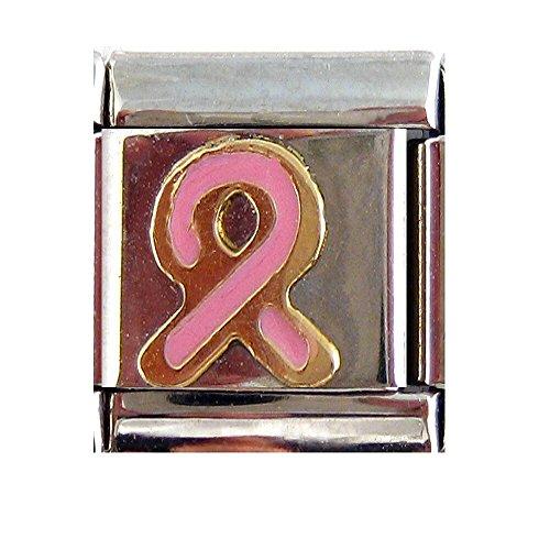 Casa d' Oro Pink Breast Cancer Awareness Ribbon Italian Charm Link Awareness Ribbon Enamel Italian Charm