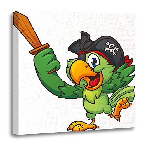 Emvency Canvas Wall Art 20 X20  Print Painting Living Room Wall Decor Pirate Parrot Holding Wooden Sword Clip Simple Gradients All In Single Layer Home Decoration Framed Waterproof Artwork