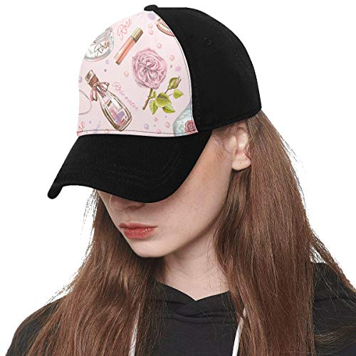 Front Panel Custom Perfume Bottle Color Vintage Girl Printing Baseball Hat Adjustable Size Curved Cap for Hip-hop Sports Summer Beach Outdoor Activities Unisex ()