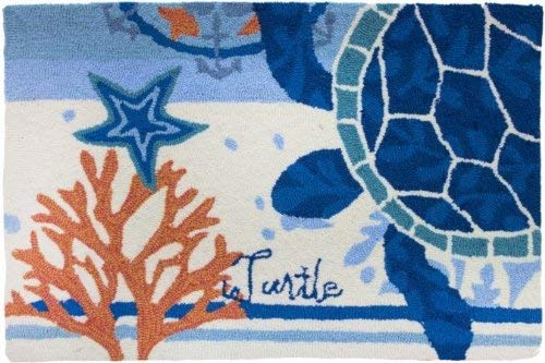 Homefires Accents Turtle Medallion Indoor Rug, 22 by 34-Inch