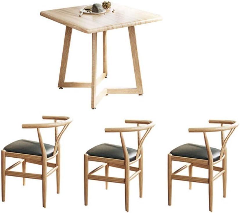 ダイネットの組み合わせの正方形のテーブル2人3人4人の家茶色茶色の60センチメートル70センチメートル80センチメートルホームパブのレトロカジュアルな木材を飲むテーブルオフィスのお茶を食べます (Color : Wood, Size : 70cm+3) Wood 70cm+3