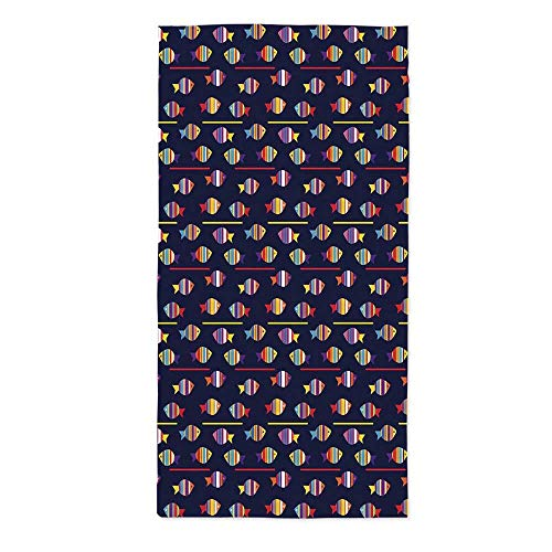 - TecBillion Fish Printed Tablecloth,Rainbow Patterned Aquatic Creatures Silhouettes and Stripes Marine Fauna Aquarium for Rectangle Table Kitchen Dinning Party,70.1''W X 104.3''L