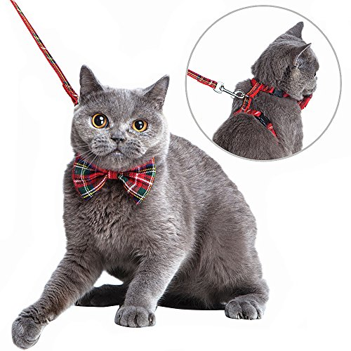 Mihachi Cat Harness Adjustable with Removable Bowtie-for Kitty & Rabbit,Plaid Harness and Leash Set, Red (Cat Harness D-ring)