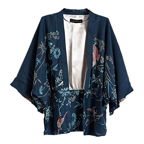 Japanese Style Women kimono Casual Women Blouse Coat (L)