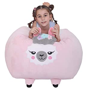 Stuffed Animals Bean Bag Cover,Llama Plush Toy Storage, XL Soft Stuffie Organization Alpaca Bean Bag Cover Replace Mesh Toy Hammock for Kids Toys Blankets, Towels & Clothes Household Supplie