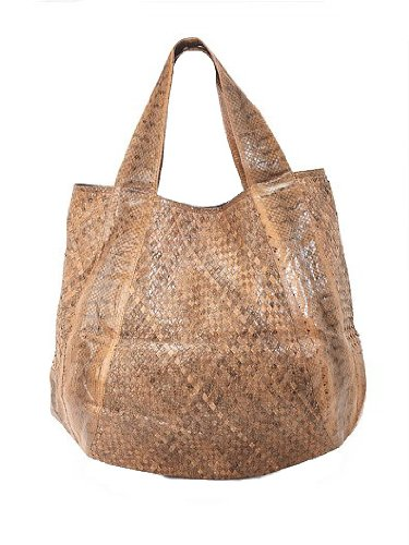 Beirn Jenna Woven Watersnake Tote (Walnut) (Water Handbag Snake)