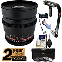 Rokinon 16mm T/2.2 Cine Wide Angle Lens with 2 Year Ext. Warranty + Steadycam + 3 Filters Kit for Sony Alpha DSLR SLT-A57, A58, A65, A77, A99 DSLR Cameras
