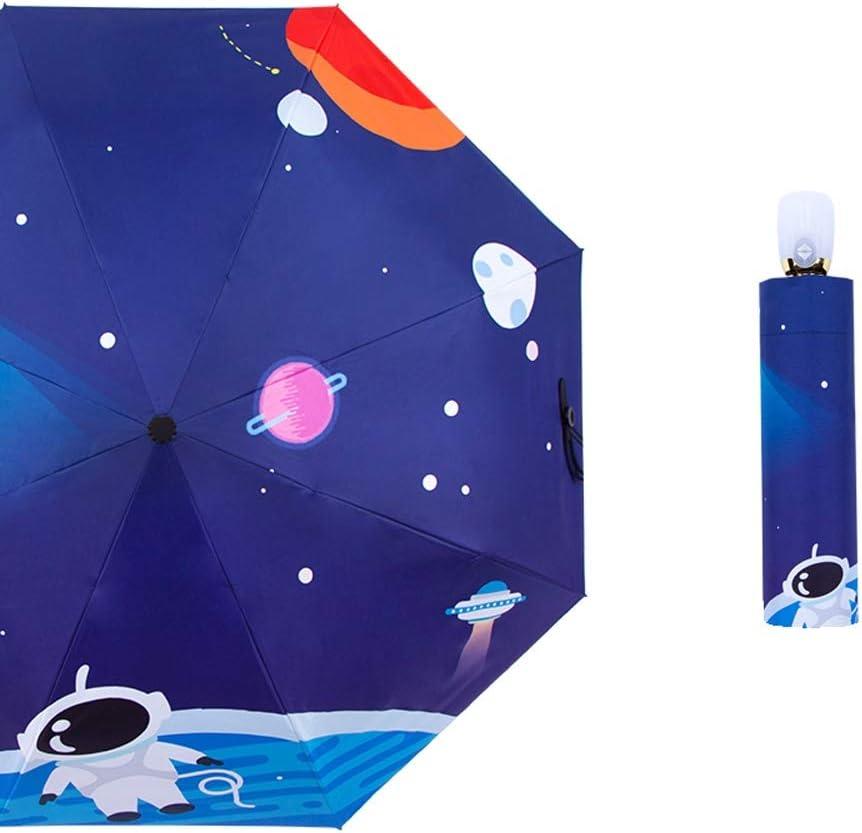 Qeeuanl Blue Cartoon Full Automatic Umbrella Sunscreen Dual-use Folding Male and Female Cartoon Shiba Inu Dog Student Vinyl Sun Umbrella UV Protection Color : A, Size : Manual
