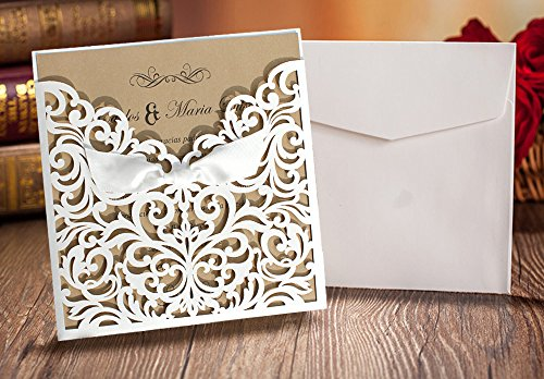 Wedding Invitation Cards Buy Online: Pocket Wedding Invitation Cards, White Wedding Invitations