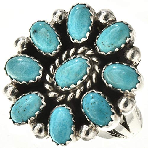 (Turquoise Petit Point Navajo Ring Silver Old Pawn Cluster Design)