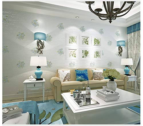 - Non-Woven Wallpaper 3D Big Flower Letters Light Blue Wallpaper Modern Fashion Art for Living Room Bathroom Kitchen Home Decor
