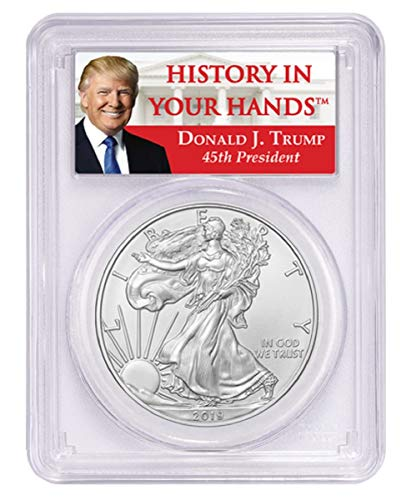 2019-1oz Silver Eagle - Donald Trump Label Dollar MS70 - Pcgs Dollar