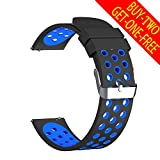 used basis peak - Universal Bands for Samsung Gear S3/Pebble Time/MOTO 360 2nd Gen/Huawei Watch, top4cus Replacement Soft Sport Silicone Quick Release Strap(22mm, Black & Blue, Large Size)
