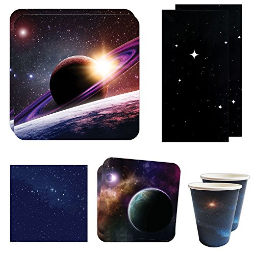 (Blue Orchards Space Party Deluxe Party Packs (70 Pieces for 16 Guests!), Space Party Supplies, Galaxy Birthday)