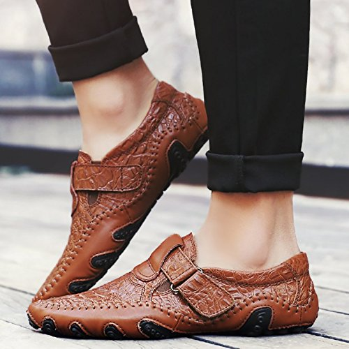 ODEMA Hommes Leather Slip-on Comfort Soft Flats Mocassins Souliers Casual 8899marron gaa9ESTImb