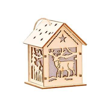 Amazonde Alexsix Weihnachtsbaum Dekoration Holzhütte Leuchtende
