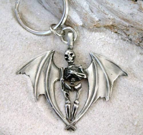 (Trilogy Jewelry Gothic Bat Wing Skeleton Pewter Keychain Key Ring)