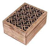 Thanksgiving Jewelry Box Keepsake Trinket Storage Box Rustic Wooden Organizer with Hand Carved Geometric Pattern