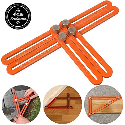 Metal Angleizer Template Tool, Adjustable Easy Angle Ruler Set, Angle Finder - Orange Premium Grade Aluminium Alloy, The Artistic Tradesman Company, Multi Angle Ruler for Any Angle