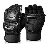 Xinluying Punch Bag Boxing Martial Arts MMA Sparring Grappling Muay Thai Taekwondo Training PU Leather Wrist Wraps Gloves Black XL (Color: Black, Tamaño: XL(4.33