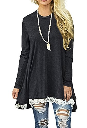 GULEGULE Women's Casual Long Sleeve Round Neck Loose Tunic T Shirt Top Blouse