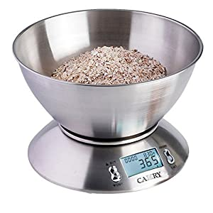 Camry High Accuracy Digital Kitchen Food Scale Mixing Bowl 2.15l Liquid Volume Room Temperature and Timer Backlight LCD Display, Stainless Steel