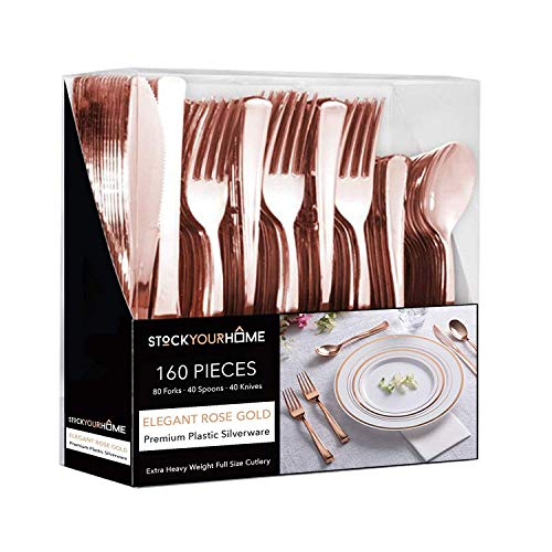 Stock Your Home Rose Gold Plastic Cutlery Set 160 Pack Disposable Silverware Heavy Duty Plastic 80 Forks, 40 Knives and 40 Spoons for Catering Events, Parties, Dinners, Weddings and Receptions