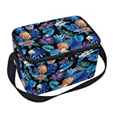 Naanle Hawaiian Pineapple Canvas Zipper Insulated Lunch Bag Cooler Tote Bag, Tropical Palm Leaves Flowers Lunch Box Lunchbox Meal Prep Handbag for Adult Men Women Kids Girls Boys