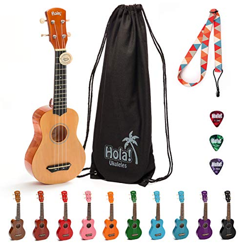 Hola! Music HM-21NT Soprano Ukulele Bundle with Canvas Tote Bag, Strap and Picks, Color Series - Natural/Mahogany