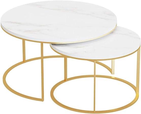 Xwzjy Ensemble De 2 Tables Basses Rondes Marbre Blanc Table De
