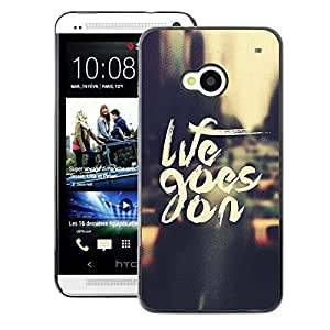 A-type Arte & diseño plástico duro Fundas Cover Cubre Hard Case Cover para HTC One M7 (Life Goes On Nyc Cab Text Vignette City)