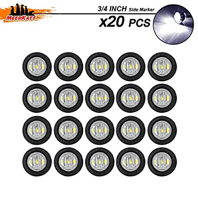 Meerkatt (Pack of 20) 3/4 Inch Miniature Round White LED Small Side Marker Clearance Lamp Indicator SMD Light Universal Waterproof Truck Trailer Marine Bus Camper Tractor black rubber grommets 12V DC: Automotive