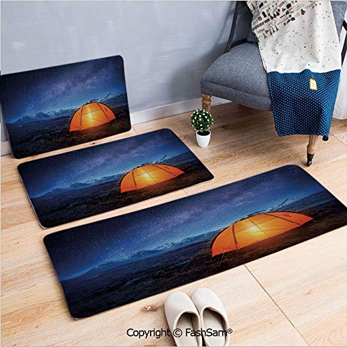 - FashSam 3 Piece Flannel Bath Carpet Non Slip Camping Tent Under a Night Sky Full of Stars Holiday Adventure Exploring Outdoors Front Door Mats Rugs for Home(W15.7xL23.6 by W19.6xL31.5 by W31.4xL47.2)