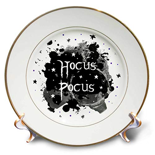 3dRose InspirationzStore - Occasions - Hocus Pocus - Spooky Halloween Saying Witchy Witches Spell - Witch Fun - 8 inch Porcelain Plate -