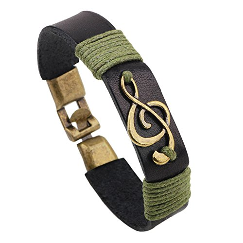 Music Note Charm Leather Bracelet Cuff for Men and Women (Black)