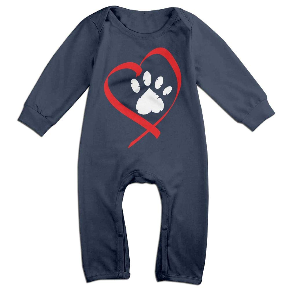 Baby Boy Organic Coverall Heart Paw Print Clipart-1 Kid Pajamas