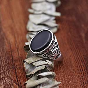 Cool Black Garnet Stone Crown Finger Men Punk Rings Party Band Jewelry Ring 9 US