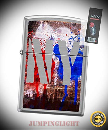 8930 New York City Graffiti Brushed Chrome Lighter with Flint Pack - Premium Lighter Fluid (Comes Unfilled) - Made in USA! ()