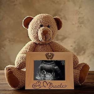KATE POSH – Tiny Miracle Engraved Natural Wood Picture Frame, New Baby, New Dad & Mom, Parents Gifts, Ultrasound, Sonogram, Baby Gift, Pregnancy Gift, Baby Announcement Photo Frame