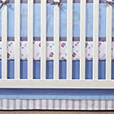 BreathableBaby | Cotton Crib Skirt | Finish Your Baby's Bedding in Coordinated Style with BreathableBaby Crib Skirt | Fits Standard Crib Mattresses | 100% Cotton | Machine Wash and Dry | Blue/Gray