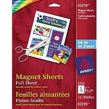 Avery Magnet Sheets for Inkjet Printers, White, 5 Pack (3270)