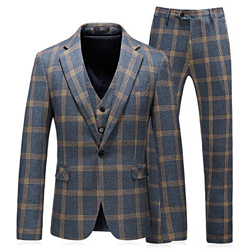Mens Suits 3 Piece Check Plaid Suit Single Breasted One Button Jackets Formal Dress Party Prom Tuxedo Suits Blazer Blue ()