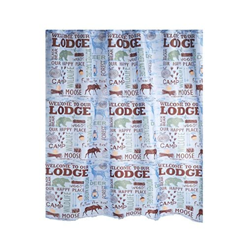 Discount Lakehouse Fabric Shower Curtain Welcome to our Lodge Wildlife Bear Moose Design supplier