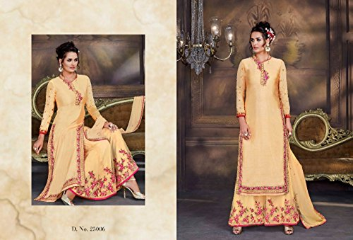 Casual Salwar Kameez Net Giallo cucito abito dritto in georgette Plazo stile Indowestern in Ultimo 632 UHdqwR7