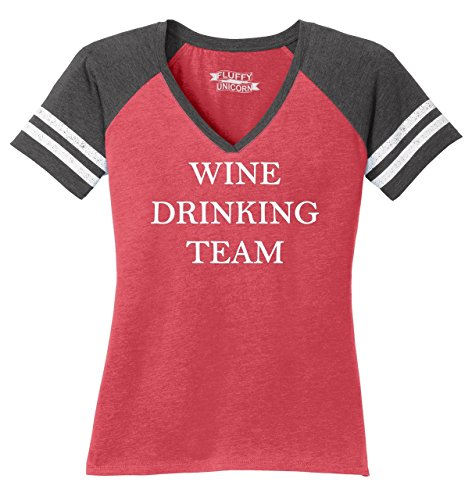 Drinking T-shirt Wine - Comical Shirt Ladies Game V-Neck Tee Wine Drinking Team Tee Heathered Red/Heathered Charcoal XL
