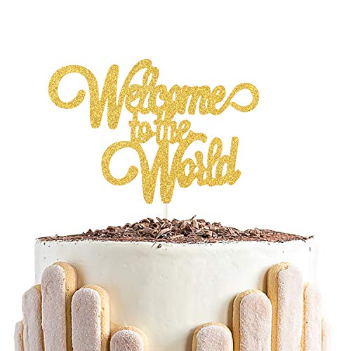 Welcome To The Word Cake Topper,Baby Hello World Cake Decorations,Gender Reveal Baby Shower Party Decorations ( Double Sided Gold Glitter ) (Welcome To The World Baby Girl Card)