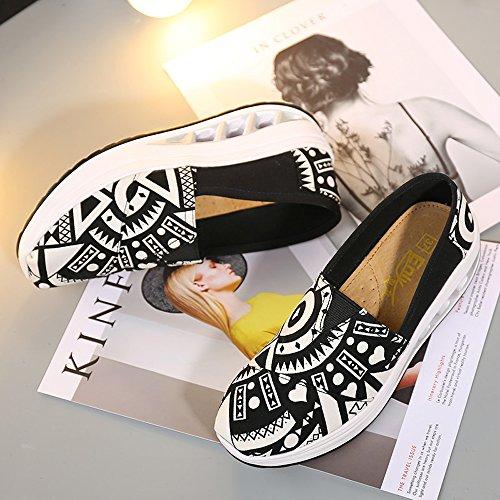 White M On Fintess Shoes Women Multicolor Slip Canvas LZ Walking EnllerviiD Black B MZF9006heibai36 Sneakers Platform 5 5 US Shape Up wqHSZB4